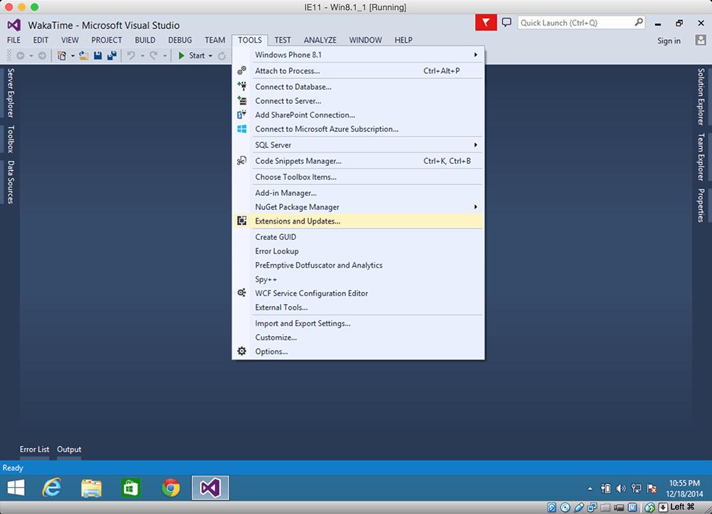 Visual Studio · WakaTime - Open source plugin for automatic