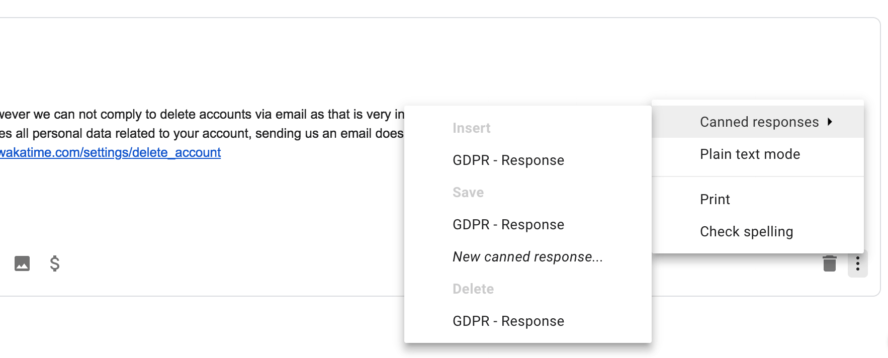 Gmail save canned response