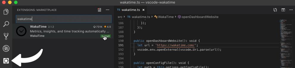 VS Code extensions tab